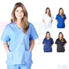 494f67cab67 Scrubs 105419: Unisex Men Women Classic Scrub Top Medical Nursing Hospital  Uniform V-Neck
