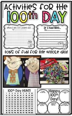 Day of School FUN Activities! - 100 Days of School 💯 100th Day Of School Crafts, 100 Day Of School Project, 100 Days Of School, School Gifts, School Fun, School Projects, School Holidays, School Teacher, Reading Activities