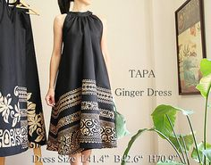 Hawaiian fabric & black Tapa Ginger Dress HNLS02029 by Leimeria