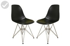 Baxton Studio Isidora Steel-Base Black Plastic Chair, Set of 2 - Improve your home (*Amazon Partner-Link)