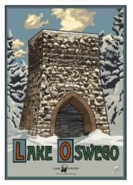 The Lake Oswego Preservation Society combines Lake Oswego history and art with its series of posters designed by famed Northwest artist, Paul A. Lanquist.  Meet the artist at the poster signing reception on Thursday, December 4, 5:00-7:00pm at the Lake Oswego Public Library. The third poster, in the four-season series, features a winter scene of the iconic 1866 Oswego Iron Furnace.