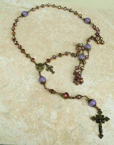 Lavender Jade Amethyst AB Crystal Antique Bronze Vintage Style Rosary