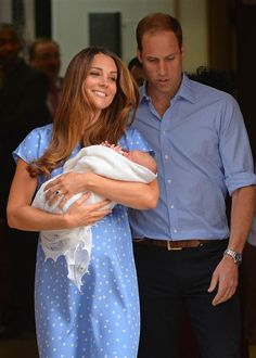 Little Prince George with his parents on July 23, 2013