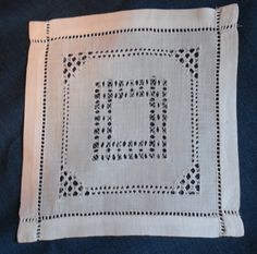 Vintage SQUARE MATS Made of LINEN  Drawn Thread - 8 MATS SOLD INDIVIDUALLY by YESTERDAYTRUNK