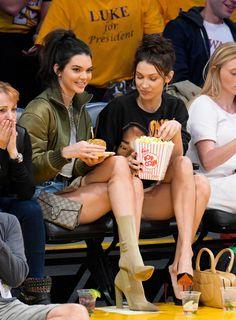 """Kendall Jenner and Bella Hadid at a Lakers vs. Mavericks game in Los Angeles """