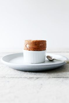 caramelised rhubarb souffle with coconut caramel anglaise