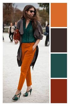 How to combine Laranja – Color matching – … - Kleidung Colour Combinations Fashion, Color Combinations For Clothes, Fashion Colours, Colorful Fashion, Color Combos, Combination Colors, Cool Winter, Fall Color Palette, Color Pairing