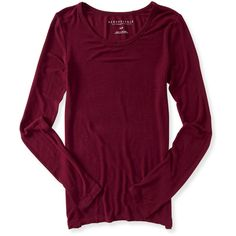 Aeropostale Long Sleeve Solid Layering Tee (94 EGP) ❤ liked on Polyvore featuring red dare and aéropostale
