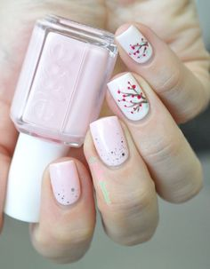 Flor de cerejeira nas unhas | Unha decorada | Flowers Nail Art | Essie Nail Polish