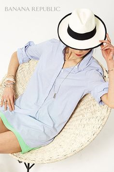 Less is more when it comes to summer dressing, but more is more when it comes to accessories. Start with a tunic shirtdress. Add a trimmed Panama Hat, a delicate necklace and bracelets that beg to be piled on and suddenly it's not only chic…it's pin-worthy.