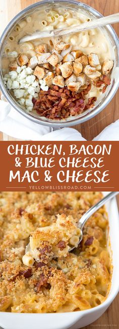Bacon and Blue Cheese Mac & Cheese Chicken, Bacon & Blue Macaroni & Cheese-Ultra creamy, rich &flavorful w/a sauce & Parmesan breadcrumb topping.Chicken, Bacon & Blue Macaroni & Cheese-Ultra creamy, rich &flavorful w/a sauce & Parmesan breadcrumb topping. I Love Food, Good Food, Yummy Food, Healthy Food, Tasty, Chicken Bacon, Chicken Recipes, Blue Chicken, Blue Cheese Chicken
