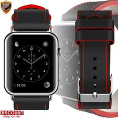 Fits Apple Watch Strap Band 38mm Series 1 2 3 Wrist Buckle Genuine Leather Black #FitsAppleWatchStrapBand