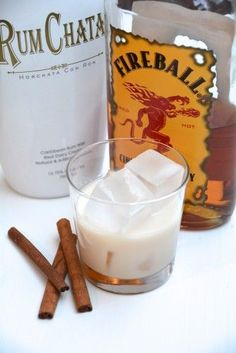 Cinnamon Toast Crunch - Equal parts Rumchata and Fireball Whiskey make a delicious cinnamon and vanilla cocktail or shot Party Drinks, Fun Drinks, Yummy Drinks, Alcoholic Drinks, Bartender Drinks, Hey Bartender, Fruity Drinks, Fall Cocktails, Cocktail Drinks