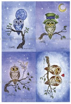 Little Owls postcard set by Amy Brown
