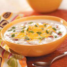 Loaded Baked Potato Soup http://www.tasteofhome.com/recipes/loaded-baked-potato-soup?keycode=ZFB0114SOD