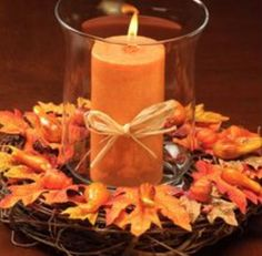 maple candle centerpiece - you can get everything at the Dollar Store except maybe the orange candle
