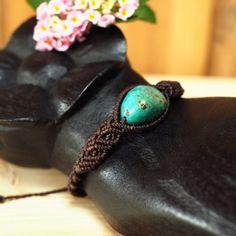 Macrame bracelet jewely Tibetan Turquoise Stone Waxed Cord Handmade Hippie Boho #Handmade #Friendship