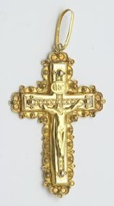 Een 14 krt. geelgouden kruishanger met filigrainwerk, Holland eerste helft 20e eeuw
