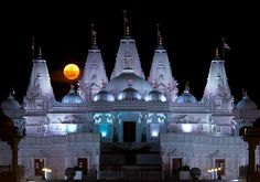 'Supermoon' rises over the BAPS Shri Swaminarayan Mandir. Completed in August, 2007 [at 5851 Hwy 85 Riverdale, GA 30274, USA], it is the sixth BAPS traditional Hindu stone temple built outside of India. It is also the largest Hindu temple of its kind outside of India - Flickr - Photo Sharing!