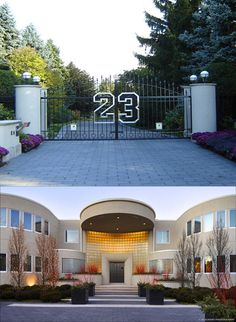 Highland Park, IL. Michael Jordan's house. 32,683 sq. ft, 9 Bedrooms, 14 full bathrooms, 4 half bathrooms, a basketball court, tennis court, entry gate with the #23, and a pond on over 7 acres… $29 million
