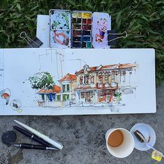 My early morning sketch and the free tea that was given us. #usksingapore2015 | Flickr - Photo Sharing!