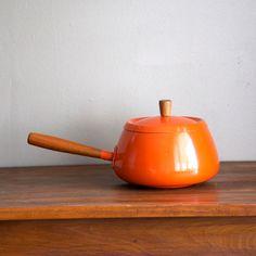Vintage Orange Enamel Pot