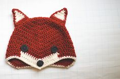 "Crochet fox hat. My great grandson would love this hat. He just loves that song ""What does the fox say?"""
