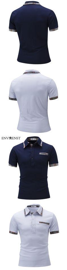 Envmenst 2017 Summer Men Simple Contrast Color Plaid Fashion Polo Shirts Clothing Short Sleeve Turn Down Collar Shirts