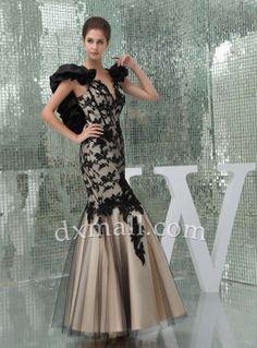 Trumpet/Mermaid Prom dresses V-neck Floor Length Satin Lace Multi-Colored 060010500023