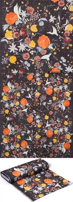 Tissu double gaze Kokka gris foncé-violet à fleurs multicolores, Nani Iro Michael Miller, Fleur Orange, Orange And Purple, Big Flowers, Colorful Flowers, Kawaii, Fabric Shop, Double Gauze Fabric, Violet