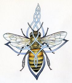 Enchanted Apis Mellifera by Noel Badges Pugh Celtic Tattoo For Women, Celtic Tattoos, Celtic Art, Druid Symbols, Scottish Thistle Tattoo, Magia Elemental, I Love Bees, Bee Boxes, Bee Tattoo