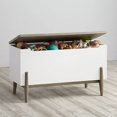Shop Wrightwood Grey Stain and White Toy Box. Our Wrightwood Toy Box will feel right at home in any room of your house. Modern Toy Boxes, Modern Toys, Modern Playroom, Playroom Design, Playroom Ideas, Kid Playroom, Playroom Decor, Modern Bedroom Furniture, Kids Furniture