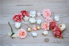 23 flores surtidas, materiales para tocados, flores artificiales, materiales para coronas, flores de tela, material diy, flores de seda