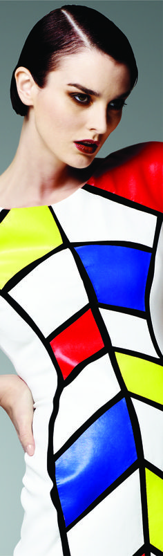 Mondrian Color-Block Short Faux-Leather Dress by #Daymor Couture ♥