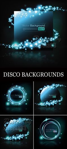 Abstract Disco Backgrounds Vector 5 EPS files   JPEG Preview | 61,4 MB