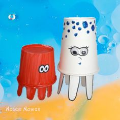 Jumping Octopus Cup Paper Toy Crafts For Kids, Arts And Crafts, Paper Toys, Babysitting, Octopus, Art Lessons, Ocean, Activities, Activities For Kids