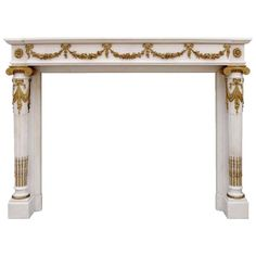 French Louis the 16th style marble and bronze fireplace - 19th century