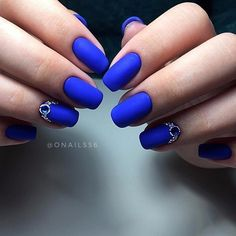 Rhinestone studded Cobalt Blue Nail Art Design. This sophisticated nail art design with rhinestones incorporated is definitely my next nail art design.