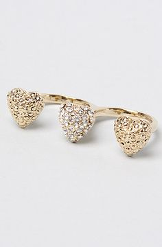 The Bling 'Heart Two Finger Ring' in Gold