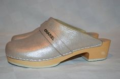 Sz 37.5-7 Chanel Champagne Silver Metallic Leather Slides Mules Clogs -Worn 1X #CHANEL #Mules
