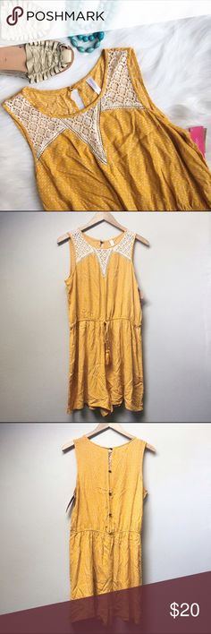 NWT Xhileration Romper Adorable mustard yellow romper with white pattern, lace detail, and back buttons.  ✅Offers ✅Bundle & Save Trades Off-Posh Modeling  Shop with ease; I'm a Suggested User. Xhilaration Pants Jumpsuits & Rompers