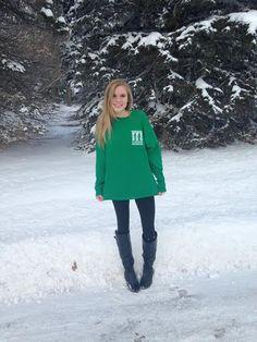 Oswego Alpha Epsilon Phi enjoying the snow! <3 Adam Block Design   Custom Greek Apparel & Sorority Clothes   www.adamblockdesign.com