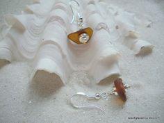 Sea Glass Beach Brown  Earrings by beachglassshop on Etsy