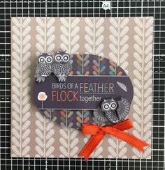 'Birds of a Feather Flock Together' Handmade card using the Papermania Owl Folk collection.