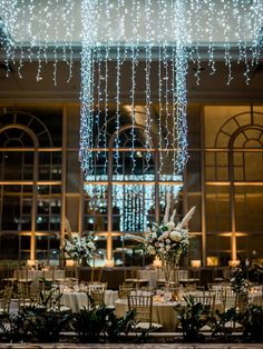 Holiday light chandelier hanging in the Garden Room at Fairmont Hotel in Seattle for a winter wedding reception with floral by Flora Nova Design Ballroom Wedding Reception, Wedding Reception Flowers, Winter Wedding Flowers, Wedding Flower Arrangements, Floral Wedding, Wedding Dresses, Grass Centerpiece, Floral Centerpieces, Winter Wedding Ceremonies
