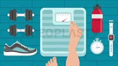 Stepping on Weighing Scale Scene Stock Animation [MOV & GIF]