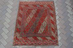 vintage afghan tribal handmade square rug kilim turkish interior rug 3'6 x 4'1Ft #Handmade #Tribal