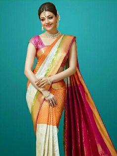 Kajala aggarwal in saree looking beautiful