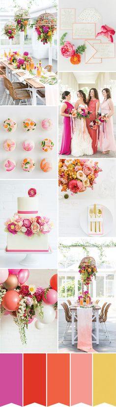 366 best wedding color palettes images on pinterest wedding color a coral orange and pink colour palette with a hint of neon junglespirit Gallery