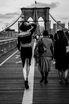 Model Alexandra Covert on the Brooklyn Bridge